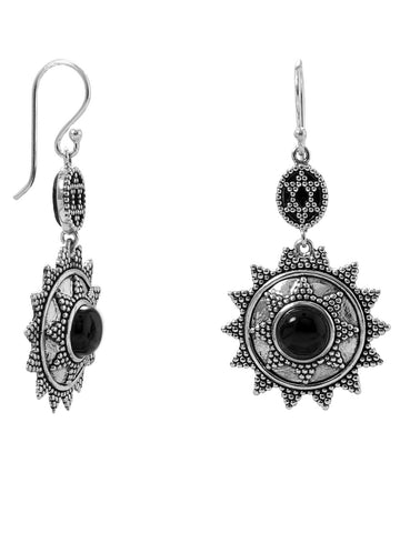 Sterling Silver Black Onyx Earrings Sun Star Design
