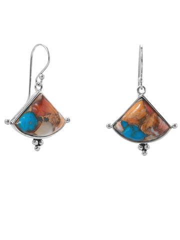 Sterling Silver Turquoise and Spiny Oyster Compressed Stone Earrings