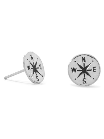 Compass Stud Earrings with Hammered Finish Sterling Silver