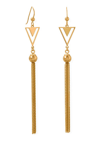 Tassel Earrings with Double Triangle and Bead 14k Gold-plated Sterling Silver