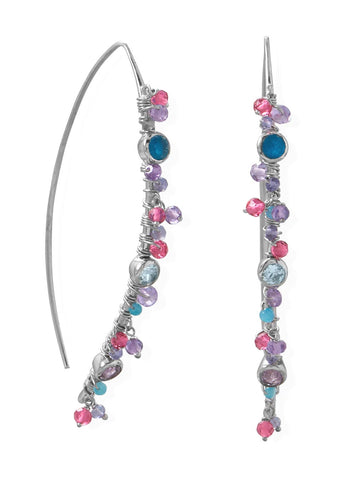 Marquis Wire Beaded Earrings Rhodium on Sterling Silver with Multicolor Stones