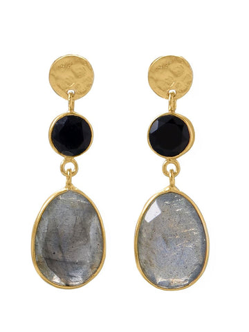 Labradorite and Black Onyx Earrings 14k Gold-plated Silver Disk Post Dangle