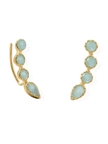 Ear Climber Earrings Aqua Blue Chalcedony Gold-plated Sterling Silver