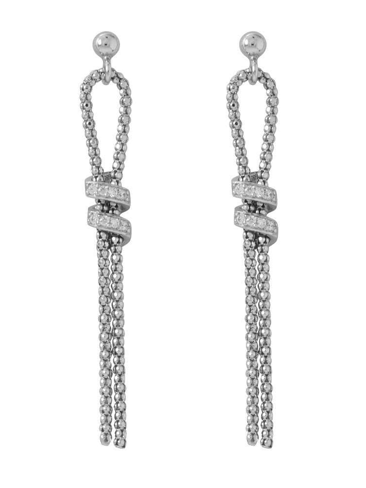 Coreana Chain Lariat Style Earrings Cubic Zirconia Rhodium on Sterling Silver