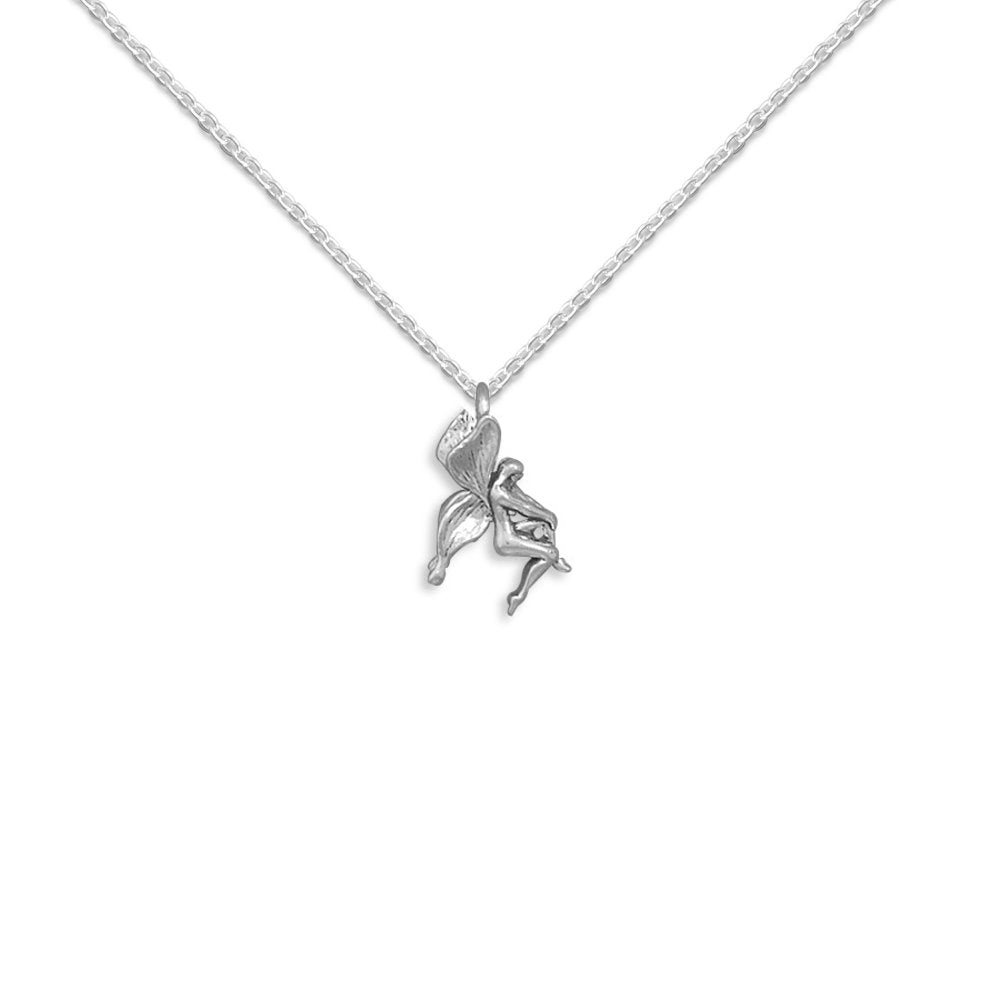 Small Fairy Slide Pendant Necklace Sterling Silver - Includes Chain, Made in USA