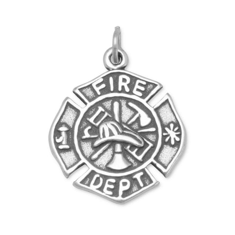Firefighter Maltese Cross Medallion Charm Sterling Silver, Made in the USA