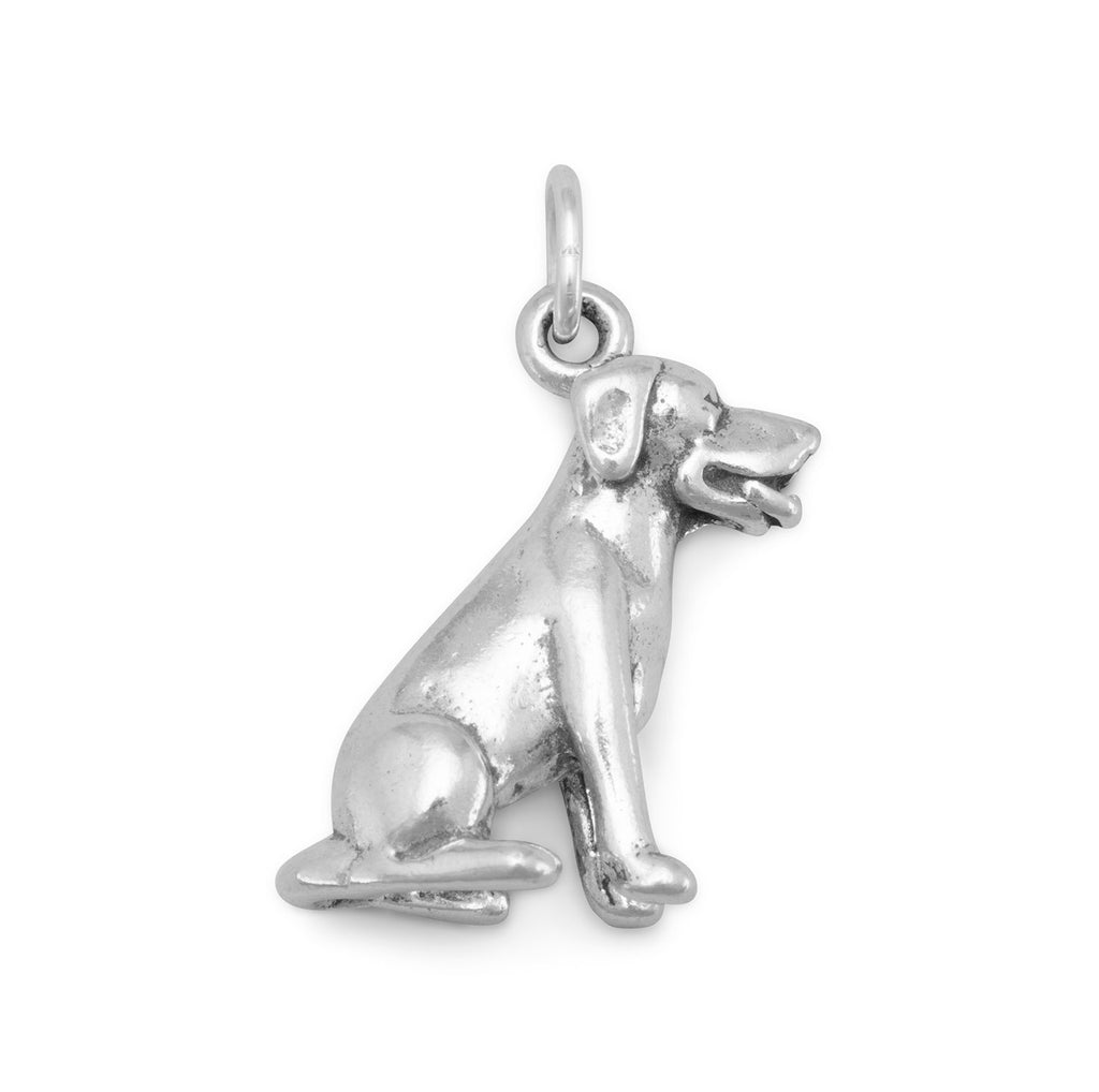 Dog Breed - Labrador Sitting Dog Charm Sterling Silver, Made in the USA