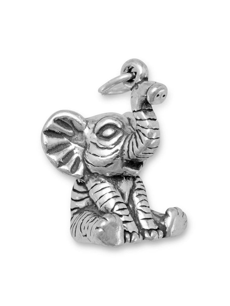 Cute Baby Elephant Charm Sterling Silver, Made in the USA