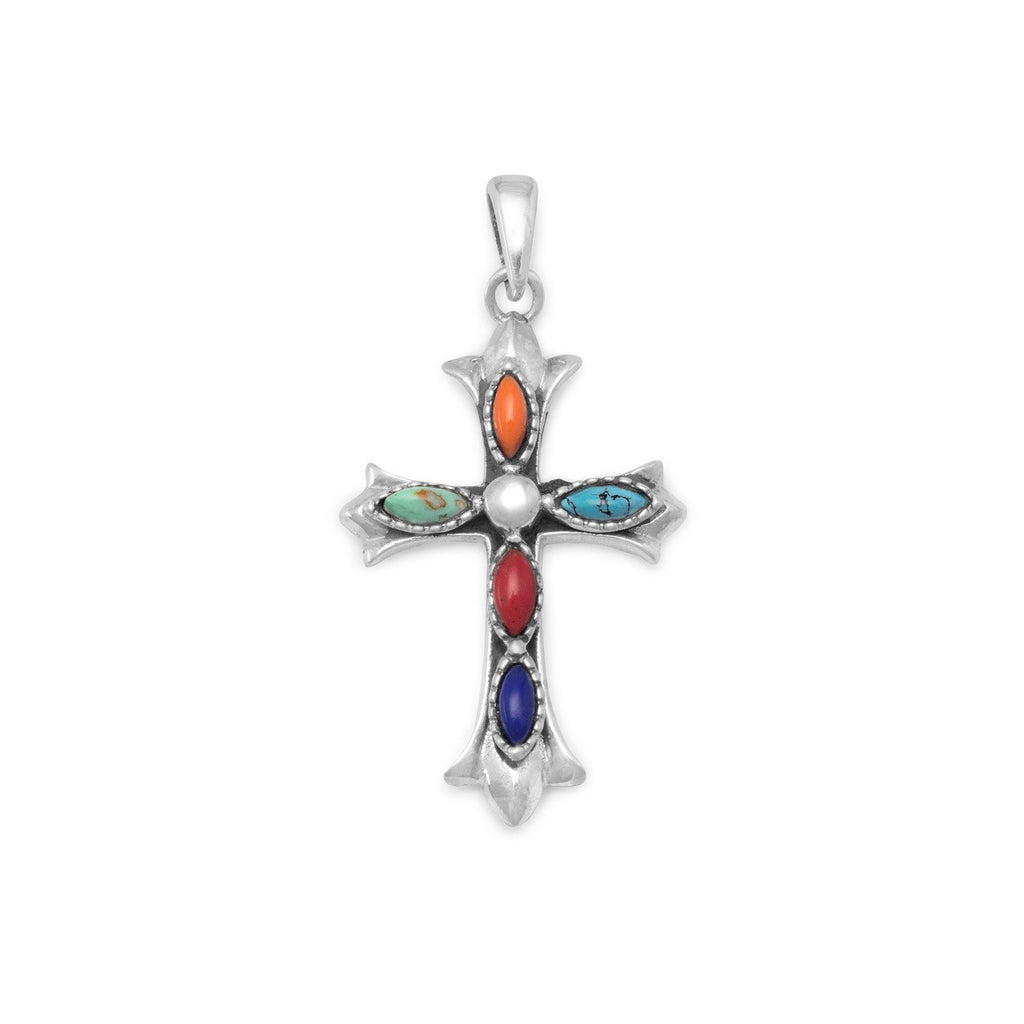 Sterling Silver Fleuree Cross Pendant with Multicolor Marquise Shape Stones