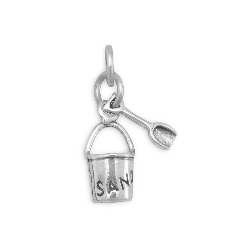 Sand Pail with Shovel Charm Sterling Silver, Made in the USA
