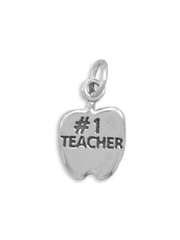 #1 TEACHER Sterling Silver Apple Charm, Made in the USA