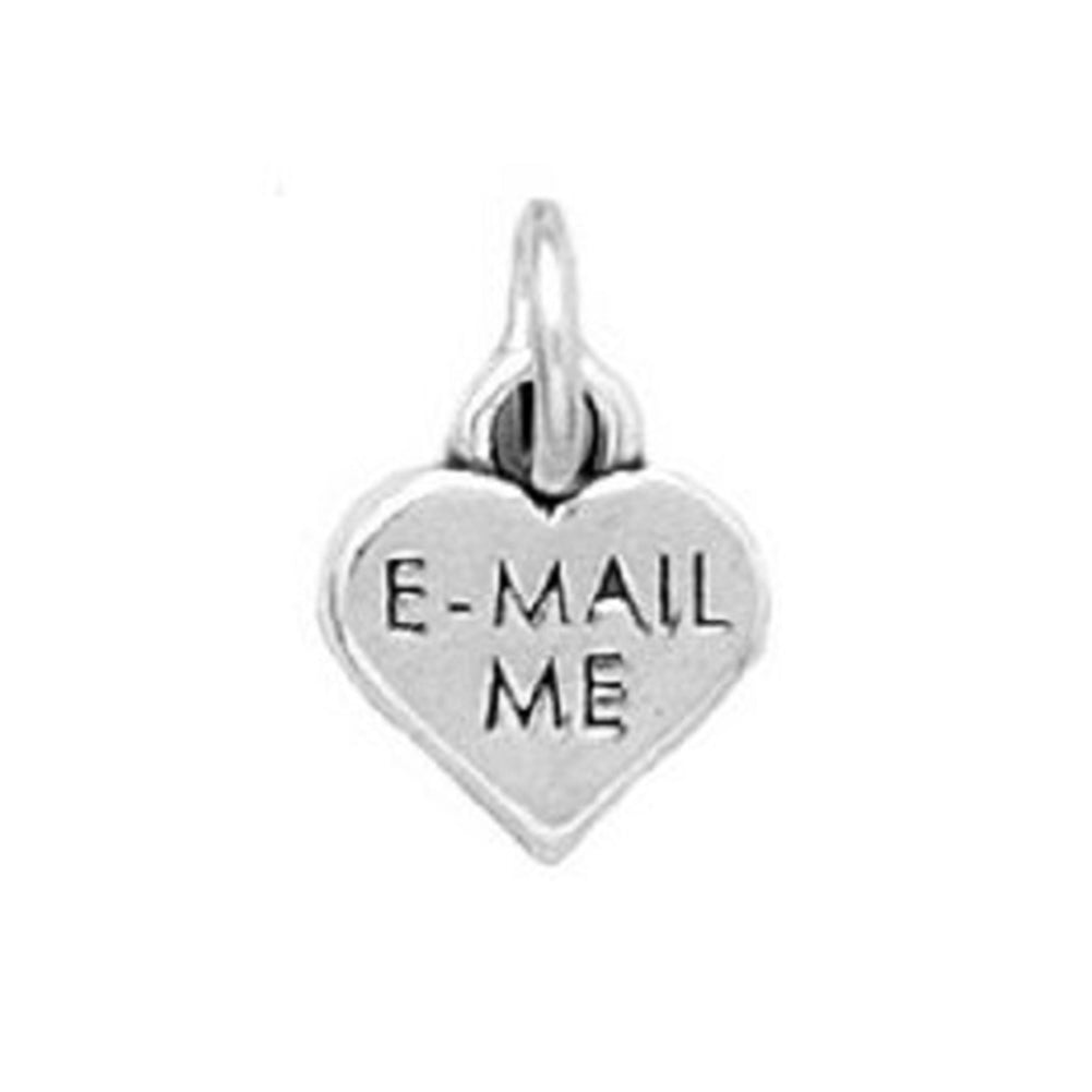 Heart Charm with E-MAIL ME Message Sterling Silver - Attachment Included
