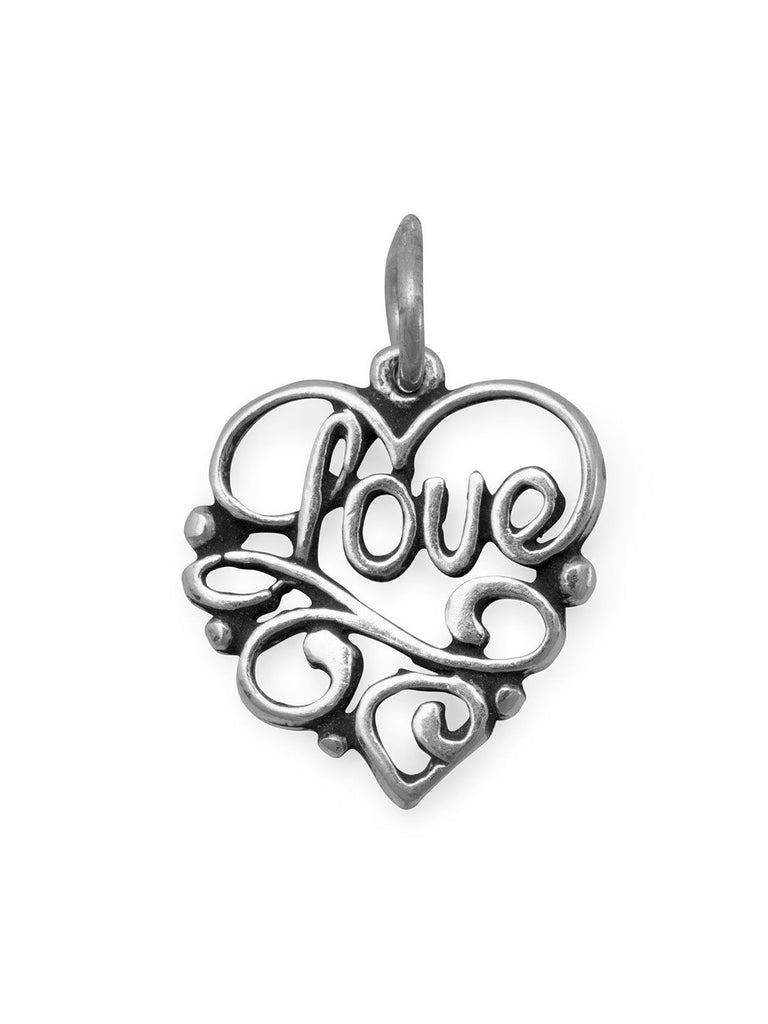 Love Heart Charm Filigree Pendant Sterling Silver, Made in the USA