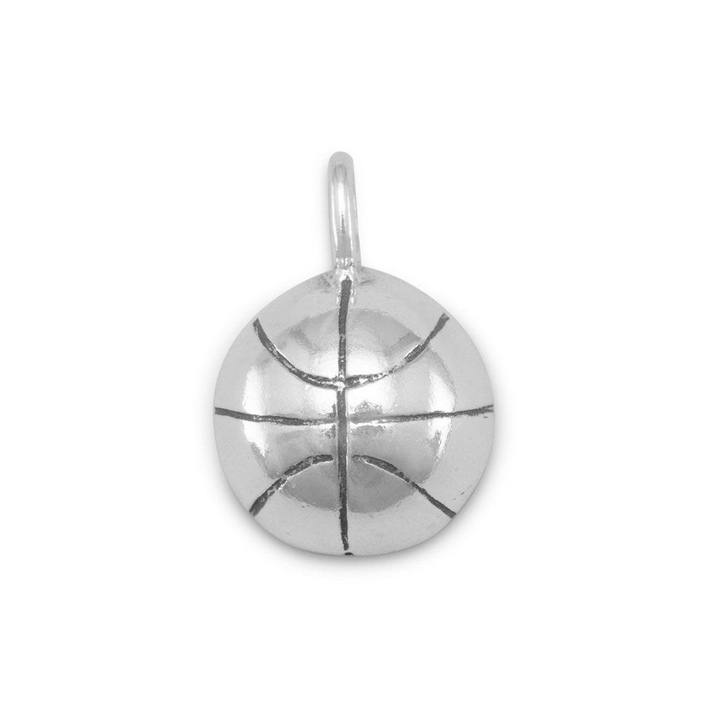 Half Round Basketball Charm Pendant Sterling Silver, Made in the USA