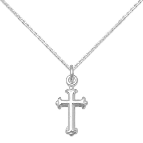 Small Child's Silver Fancy Cross Small Pendant Necklace