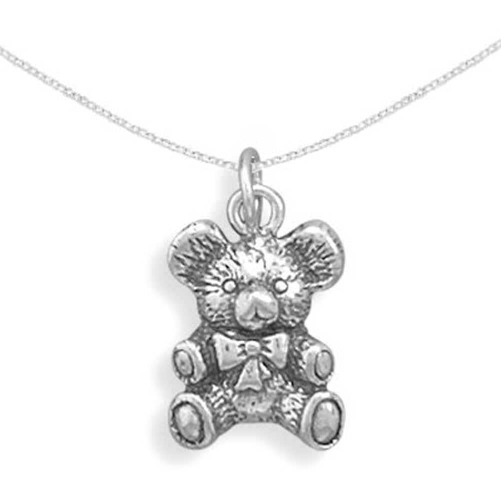 Antique Teddy Bear Necklace 3D Sterling Silver, Chain Included