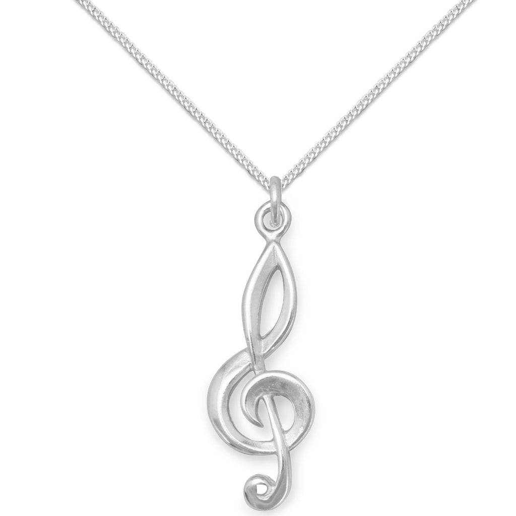 Treble Clef Pendant Necklace Sterling Silver, Chain Included