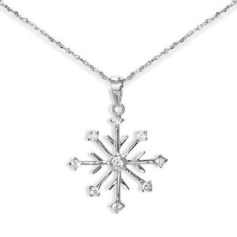 Snowflake Necklace 8-point with 9 CZ Rhodium on Sterling Silver - Includes Chain