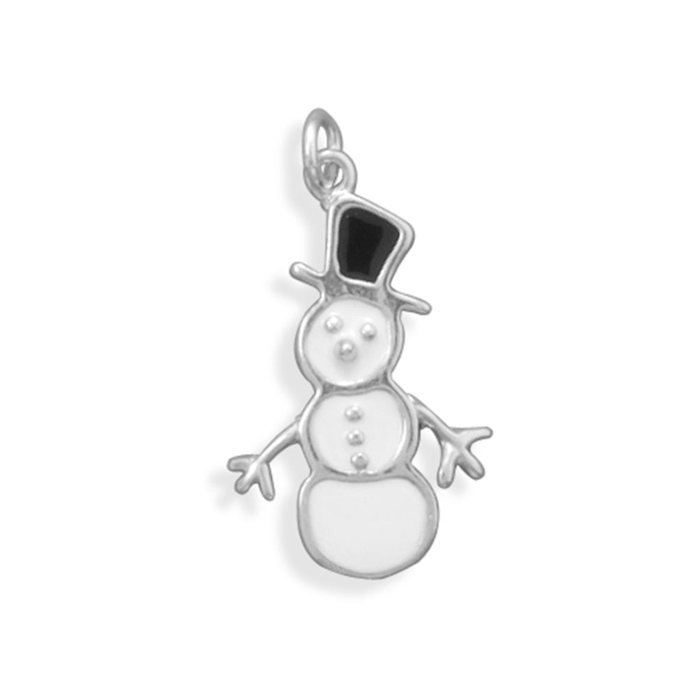 Snowman Charm White with Black Hat Sterling Silver