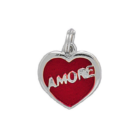 Sterling Silver Heart Charm with Amore