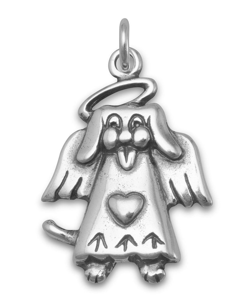 Dog Angel Charm - Antiqued Sterling Silver
