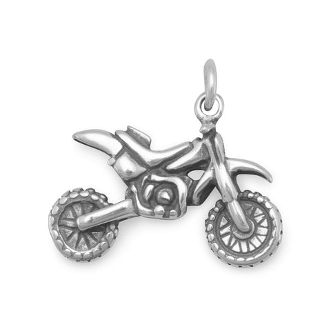 Dirt Bike Motorcycle Charm Sterling Silver
