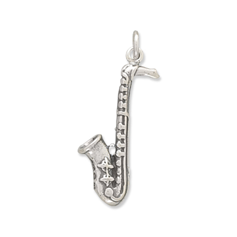 3-D Saxophone Charm Music Sterling Silver