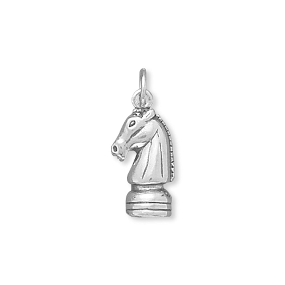 Knight Chess Piece Charm Sterling Silver
