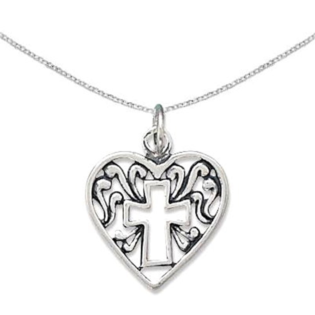 Heart Cross Filigree Charm Pendant Sterling Silver Antique Finish, With Chain (Store Only)