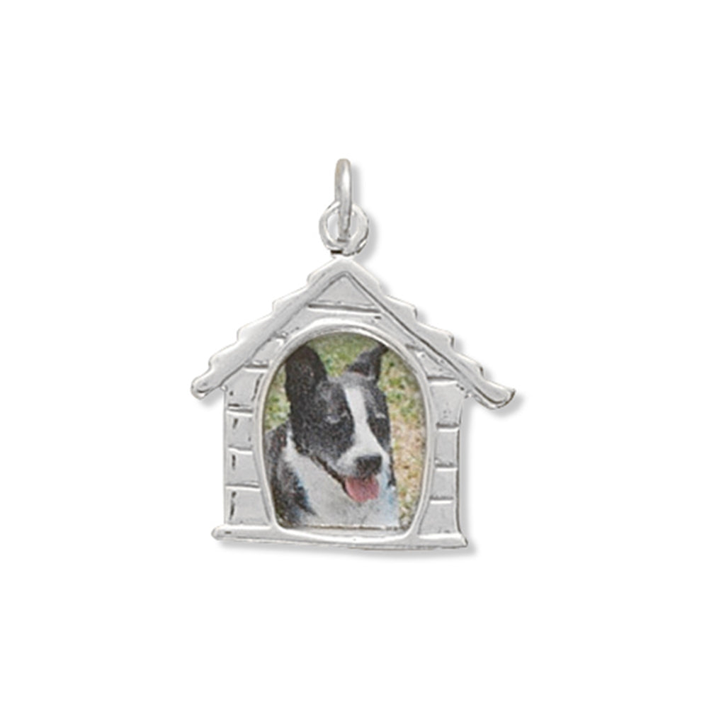 Dog House Picture Frame Charm Sterling Silver