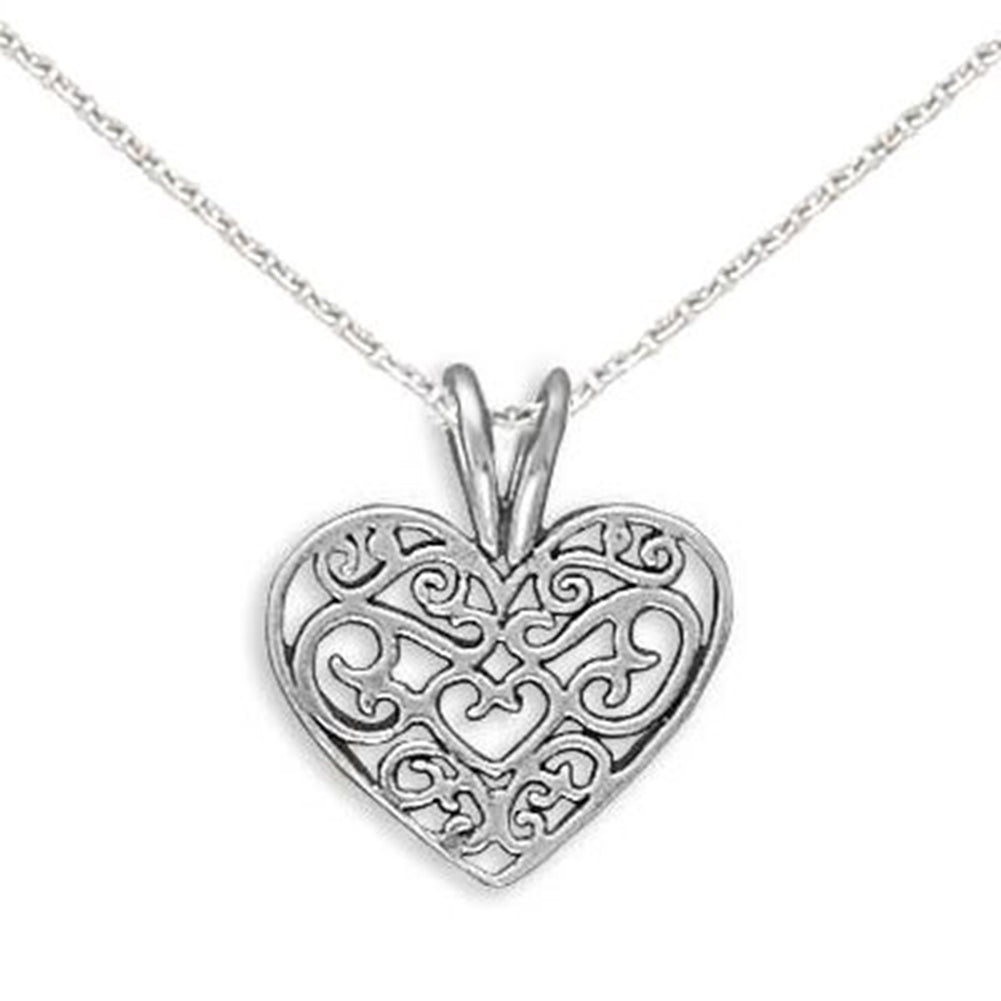 Heart Necklace Filigree Sterling Silver Pendant  Teen,  Includes Chain
