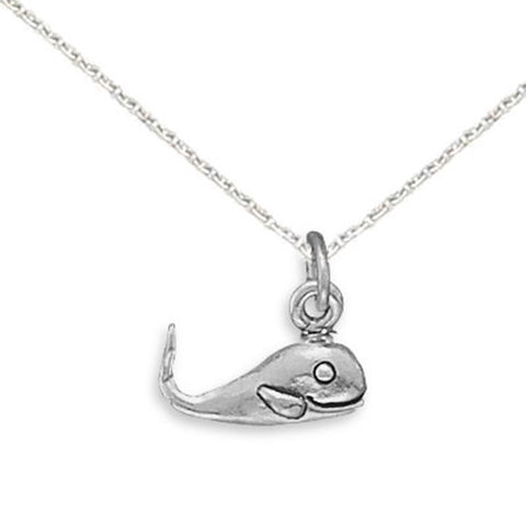 Smiling Whale Pendant Child's Necklace Sterling Silver, Chain Included