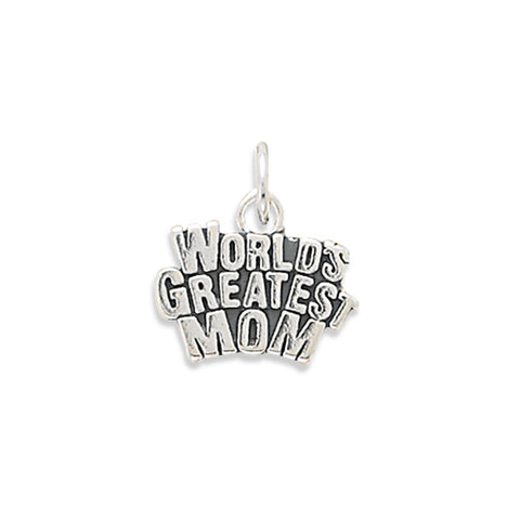 World's Greatest Mom Charm Sterling Silver - Made in the USA
