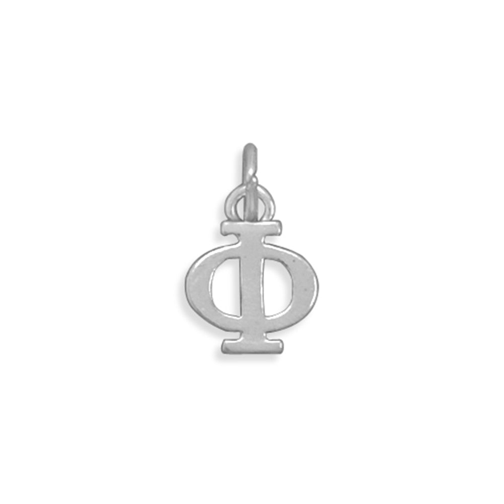 Greek Alphabet Letter Phi Charm Sterling Silver - Made in the USA
