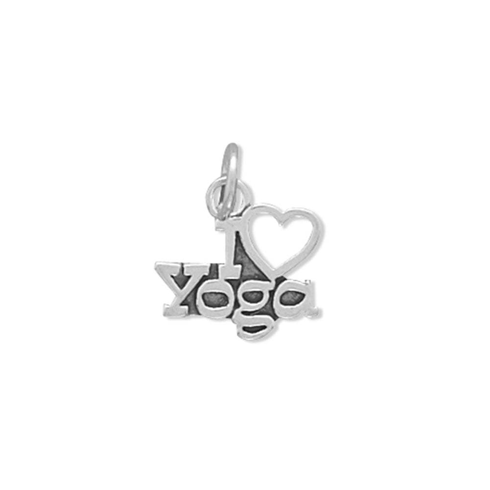 I Love Yoga Charm Sterling Silver - Made in the USA