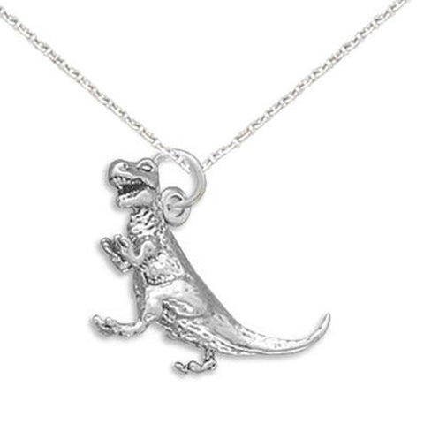 Tyrannosaurus Rex 3D Childrens Dinosaur  Necklace Sterling Silver - Made in USA