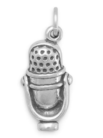 3-D Microphone Charm Sterling Silver - Made in the USA