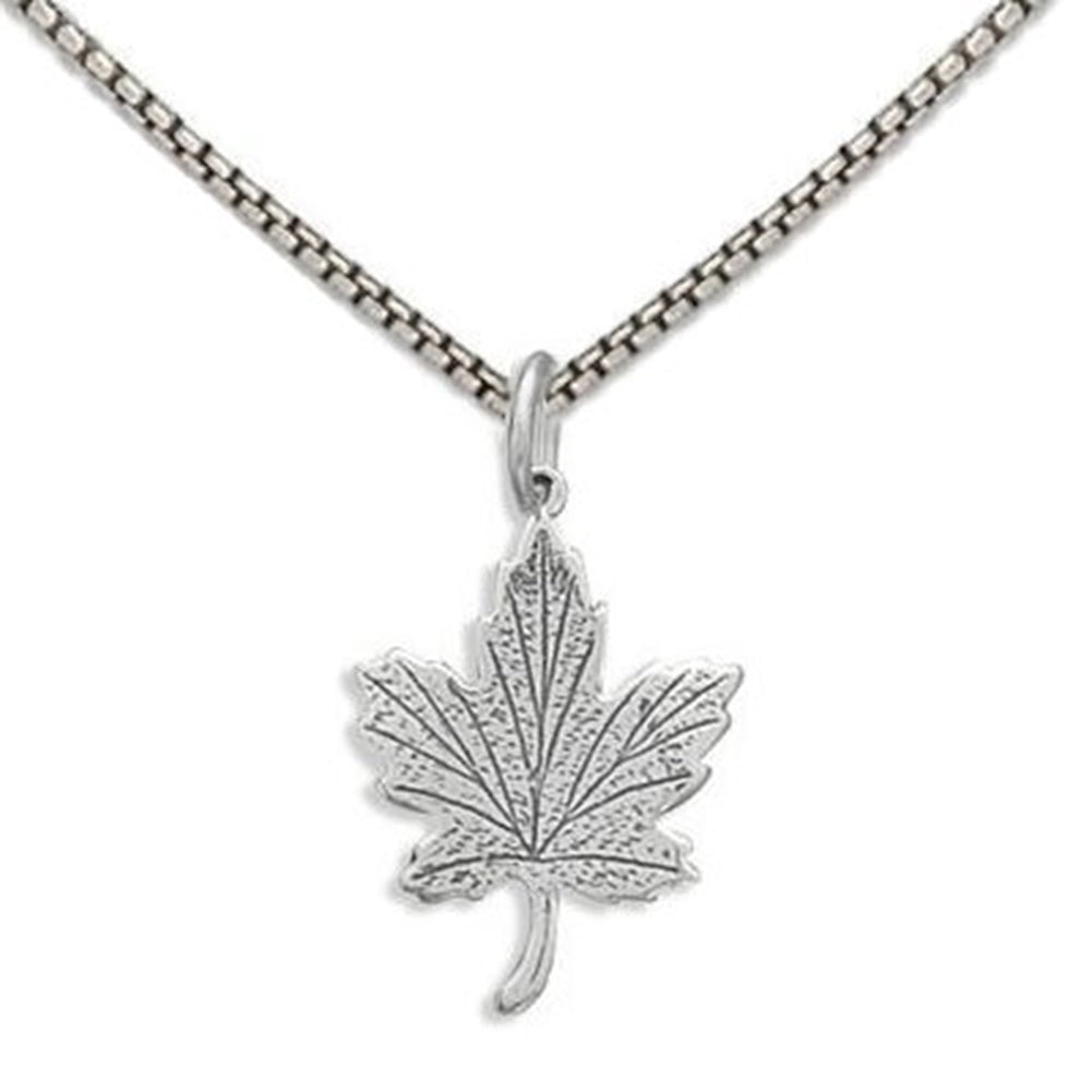 Maple Leaf Charm Necklace Sterling Silver - Includes Chain