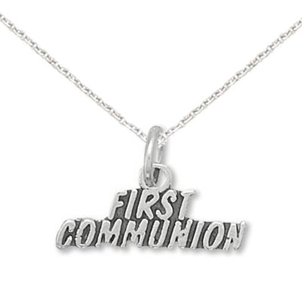 First Communion Charm Necklace Sterling Silver- Includes chain
