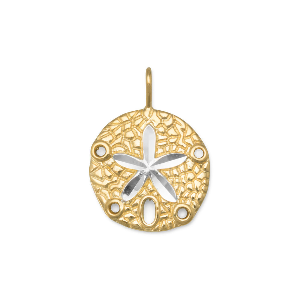 Sand Dollar Pendant Two Tone Yellow Gold-plated Sterling Silver, Pendant Only