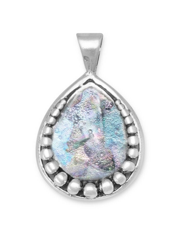 Ancient Roman Glass Pendant Necklace Pear Teardrop Beaded Sterling Silver, Pendant Only