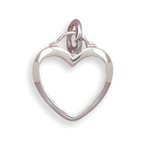 Small Heart Pendant Rhodium on Sterling Silver