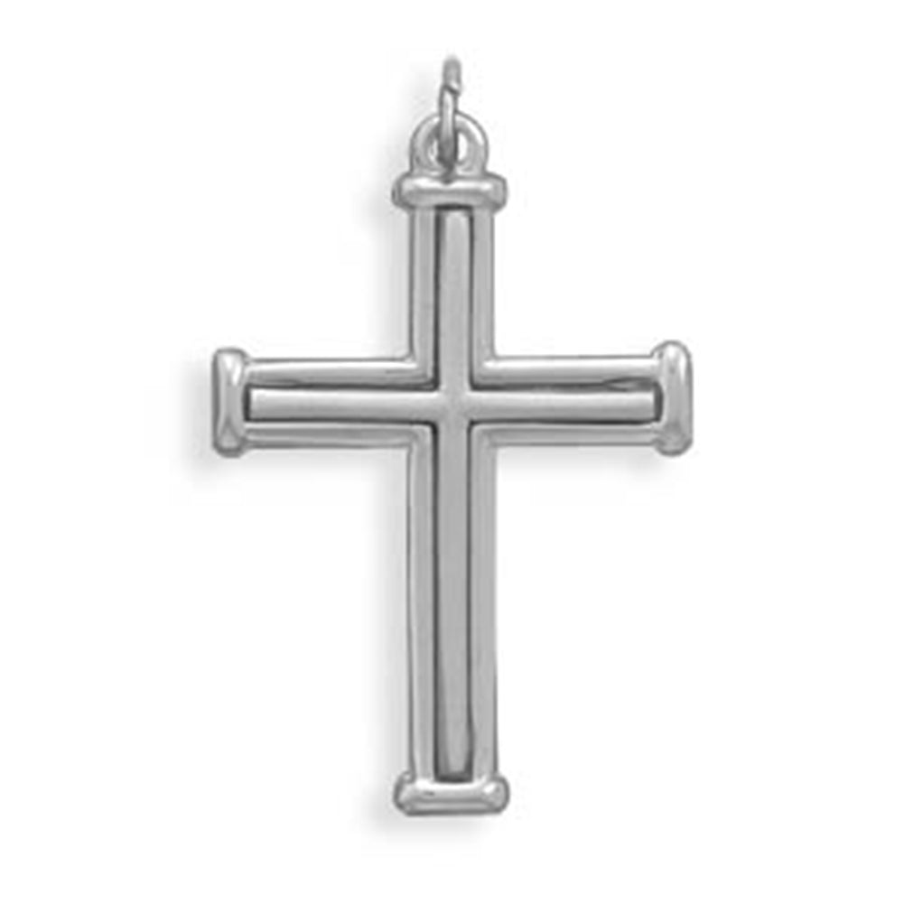 Cross Pendant Polished and Satin Finish Sterling Silver - Made in the USA