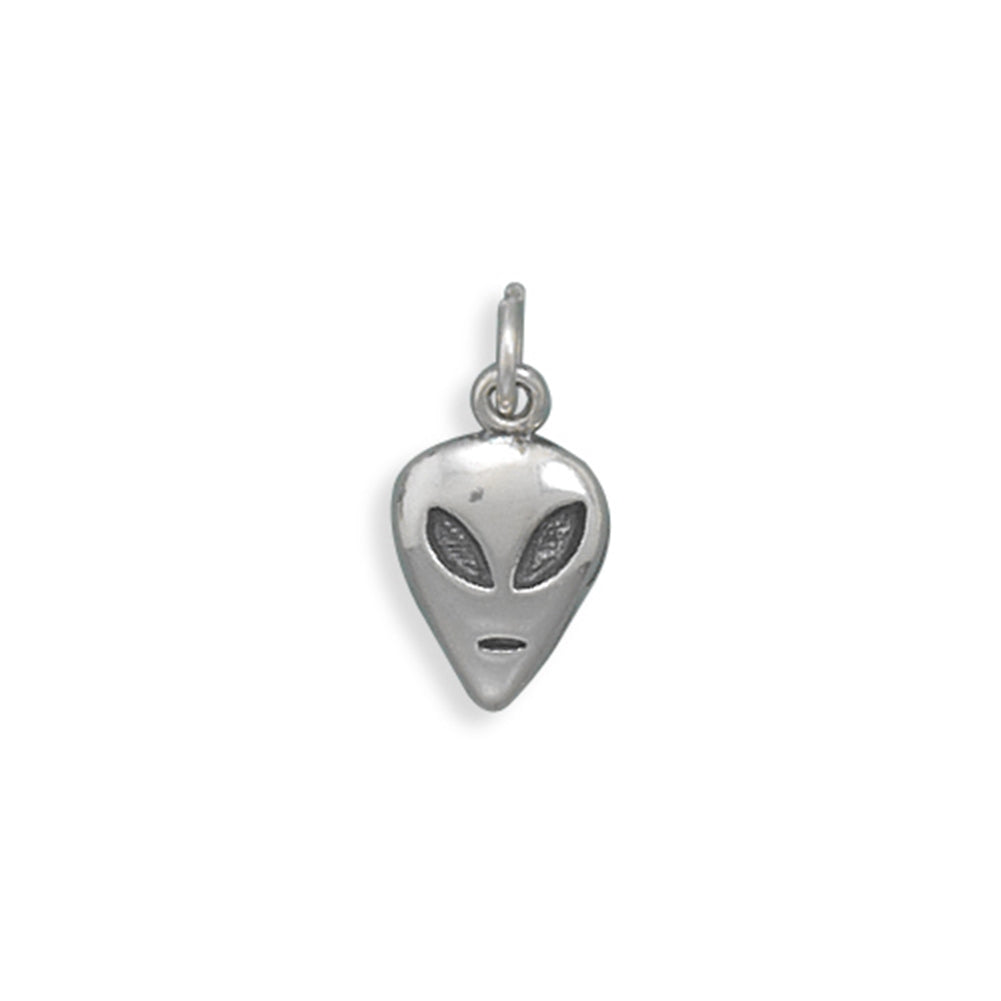 Alien Head Charm Sterling Silver
