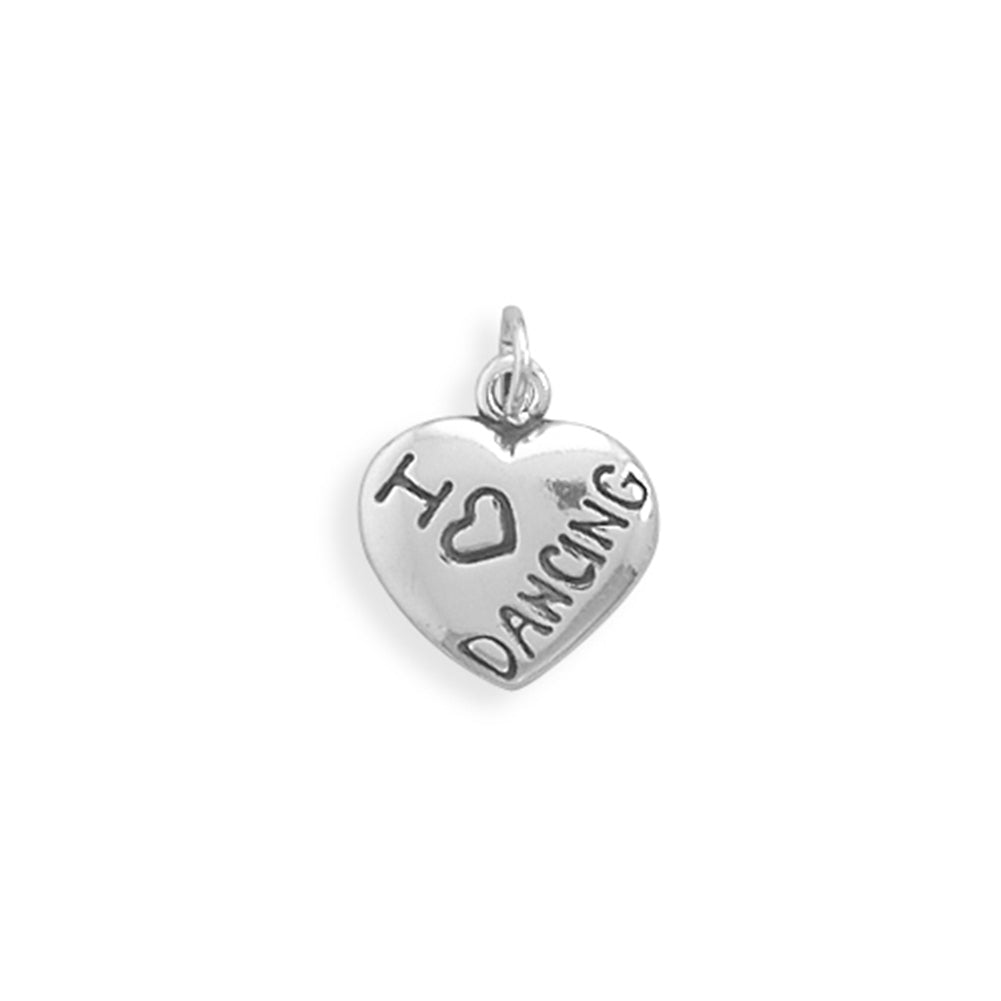 I Love DANCING Charm Puffed Heart Sterling Silver