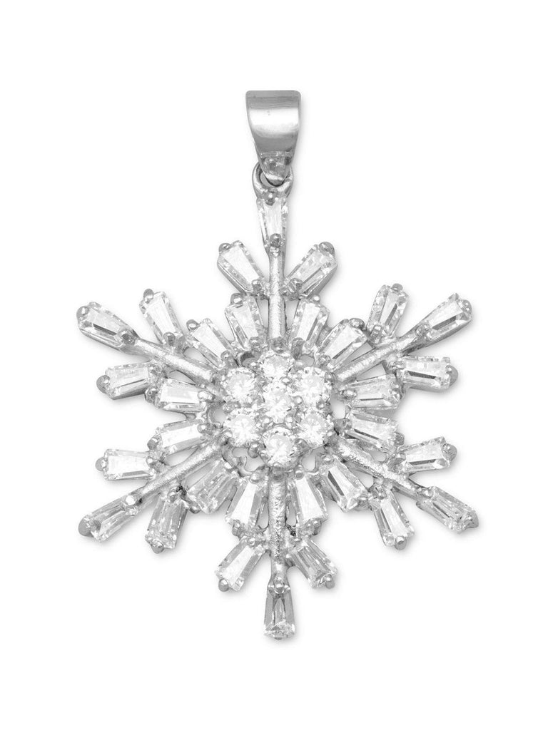 Snowflake Pendant Rhodium Over Sterling Silver and 37 CZ stones, Pendant Only