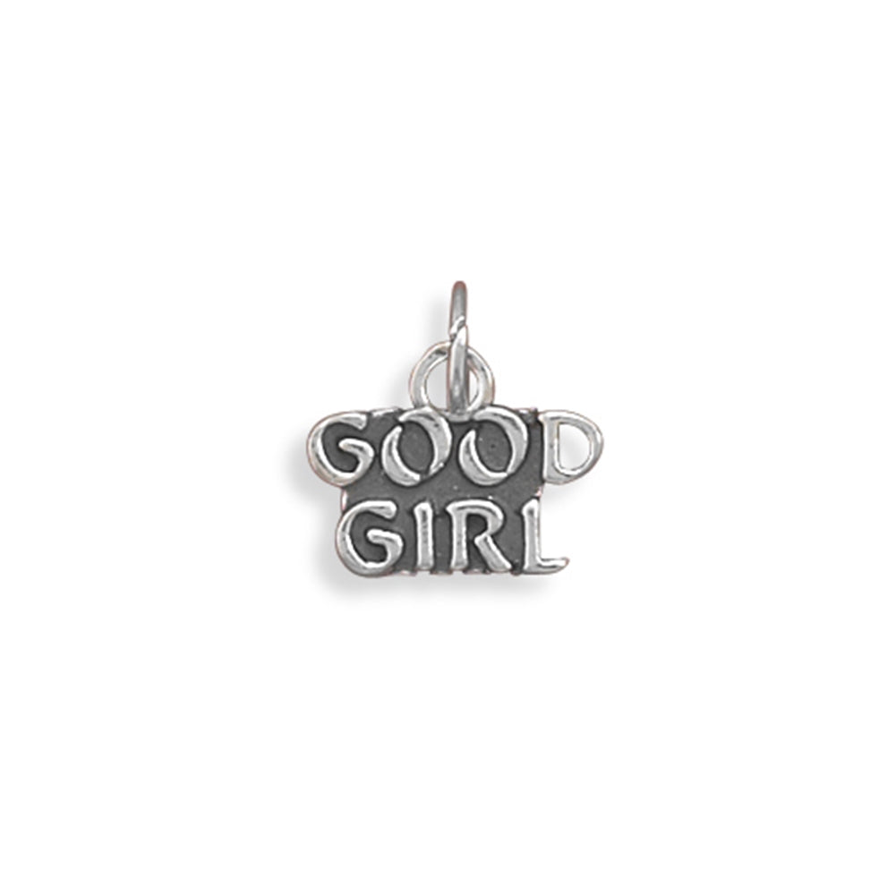 Good Girl Charm Talking Message Sterling Silver - Made in the USA