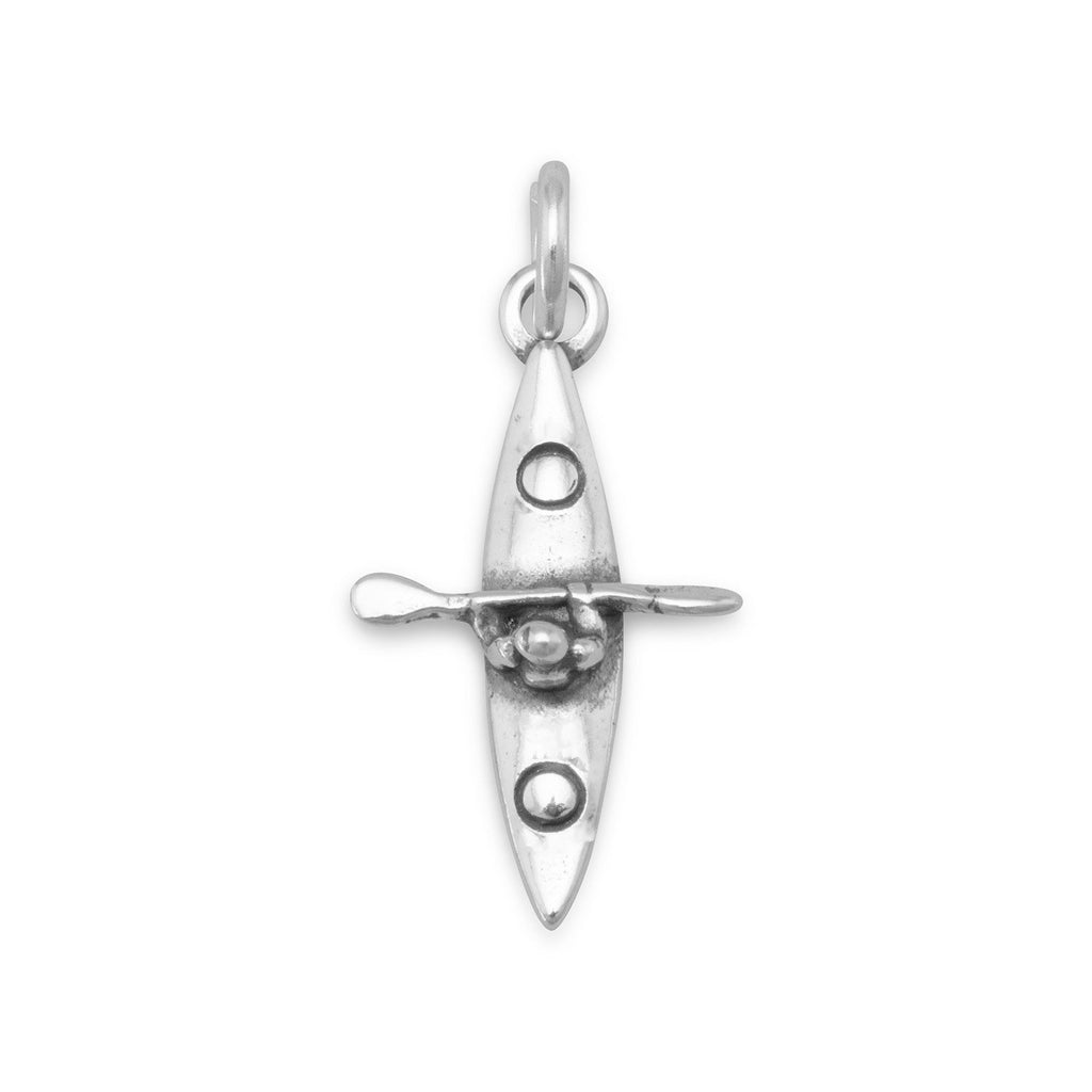 Kayaker Boat Kayak Charm Water Sports Sterling Silver