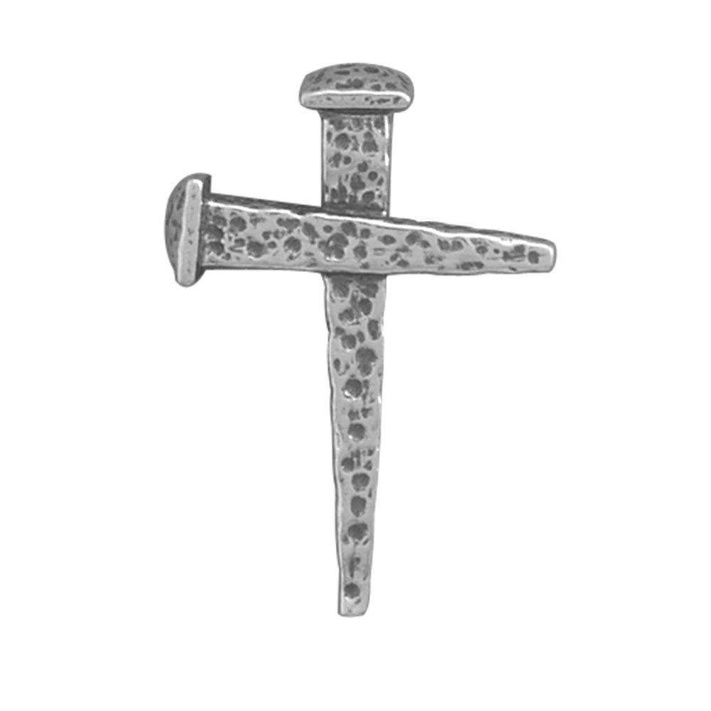 Crucifix Nail Cross Oxidized Sterling Silver Slide