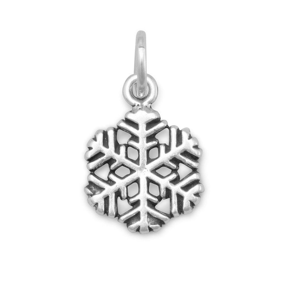 Small Snowflake Charm Pendant Antique Finish Sterling Silver